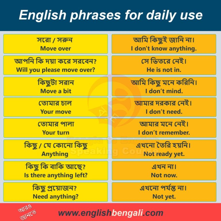 English phrases for daily use