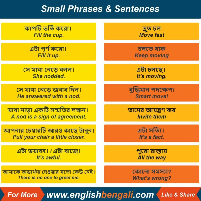 Small Phrases for daily use