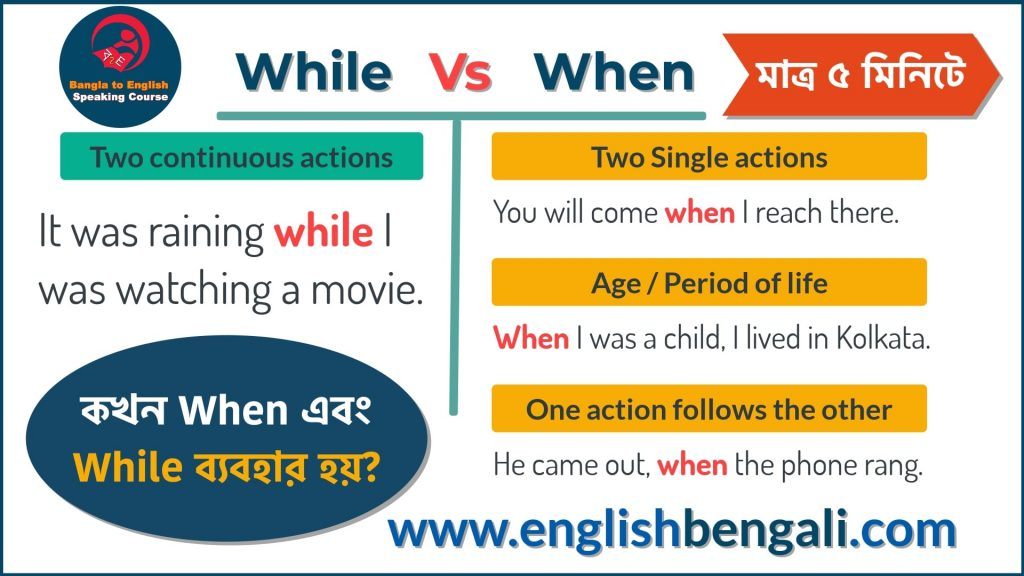 Difference Between While And When English Grammar