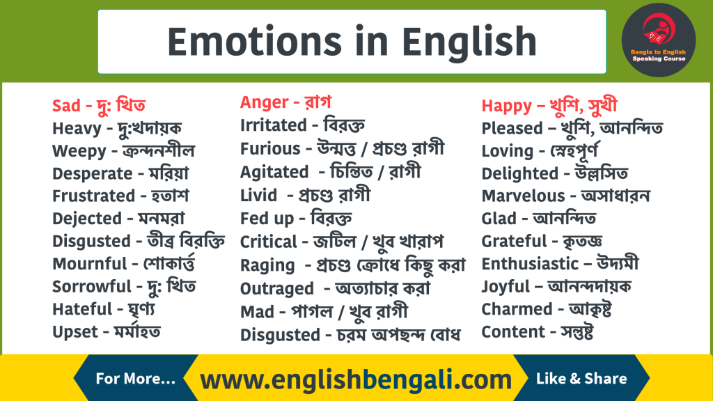 Emotions in English with Bengali Meaning