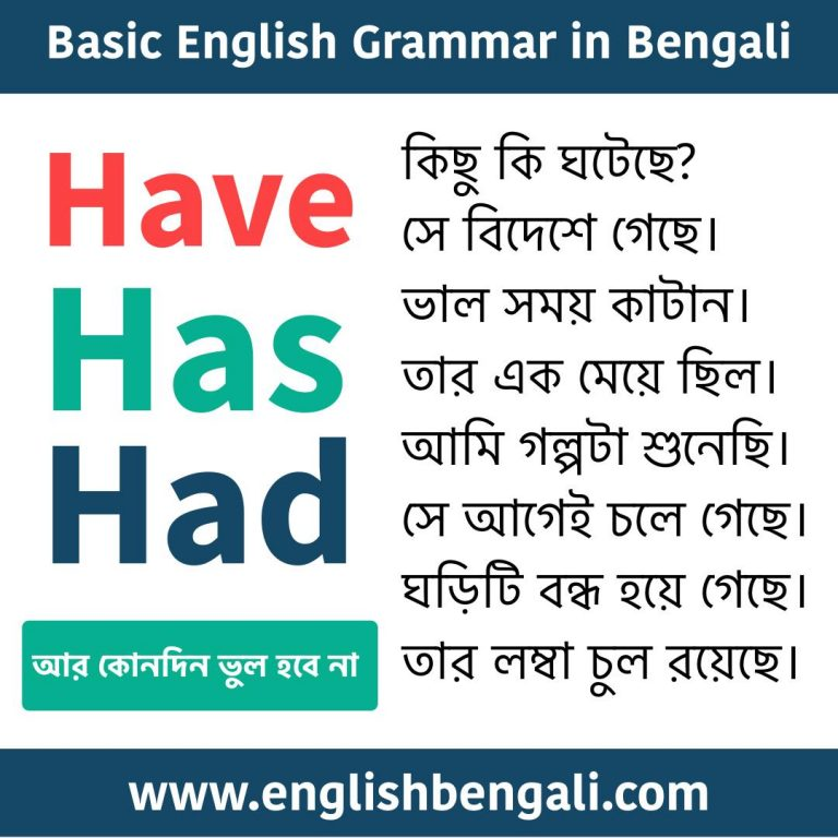 Have Has Had - English Grammar in Bengali
